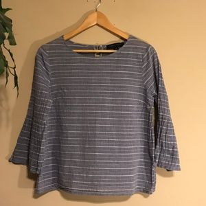 🌻 Tommy Hilfiger Textured Striped Bell Sleeve Top